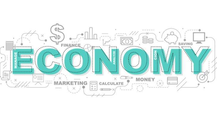 """the word """"economy"""" surrounded by several different images related to money"""