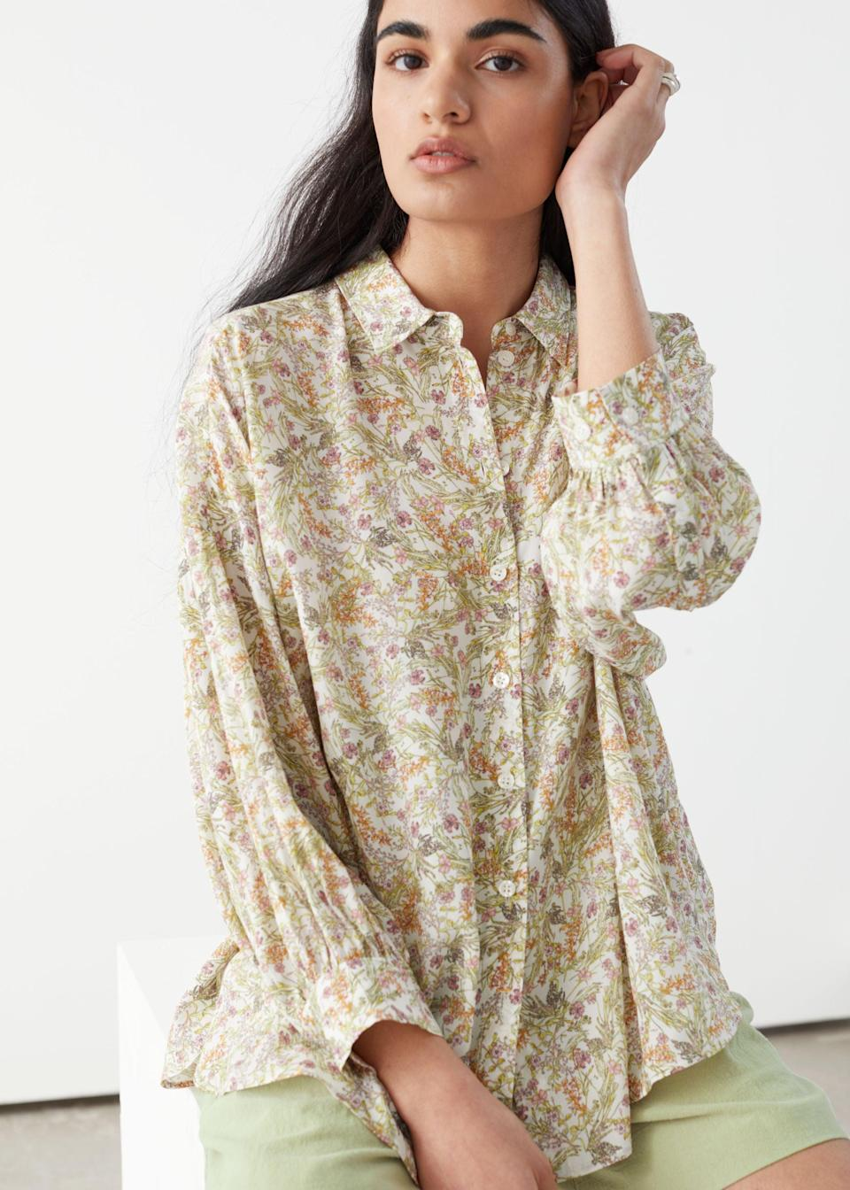 """<br> <br> <strong>& Other Stories</strong> Semi Sheer Floral Print Blouse, $, available at <a href=""""https://go.skimresources.com/?id=30283X879131&url=https%3A%2F%2Fwww.stories.com%2Fen_usd%2Fclothing%2Fblouses-shirts%2Fshirts%2Fproduct.semi-sheer-floral-print-blouse-white.0803805002.html"""" rel=""""nofollow noopener"""" target=""""_blank"""" data-ylk=""""slk:& Other Stories"""" class=""""link rapid-noclick-resp"""">& Other Stories</a>"""
