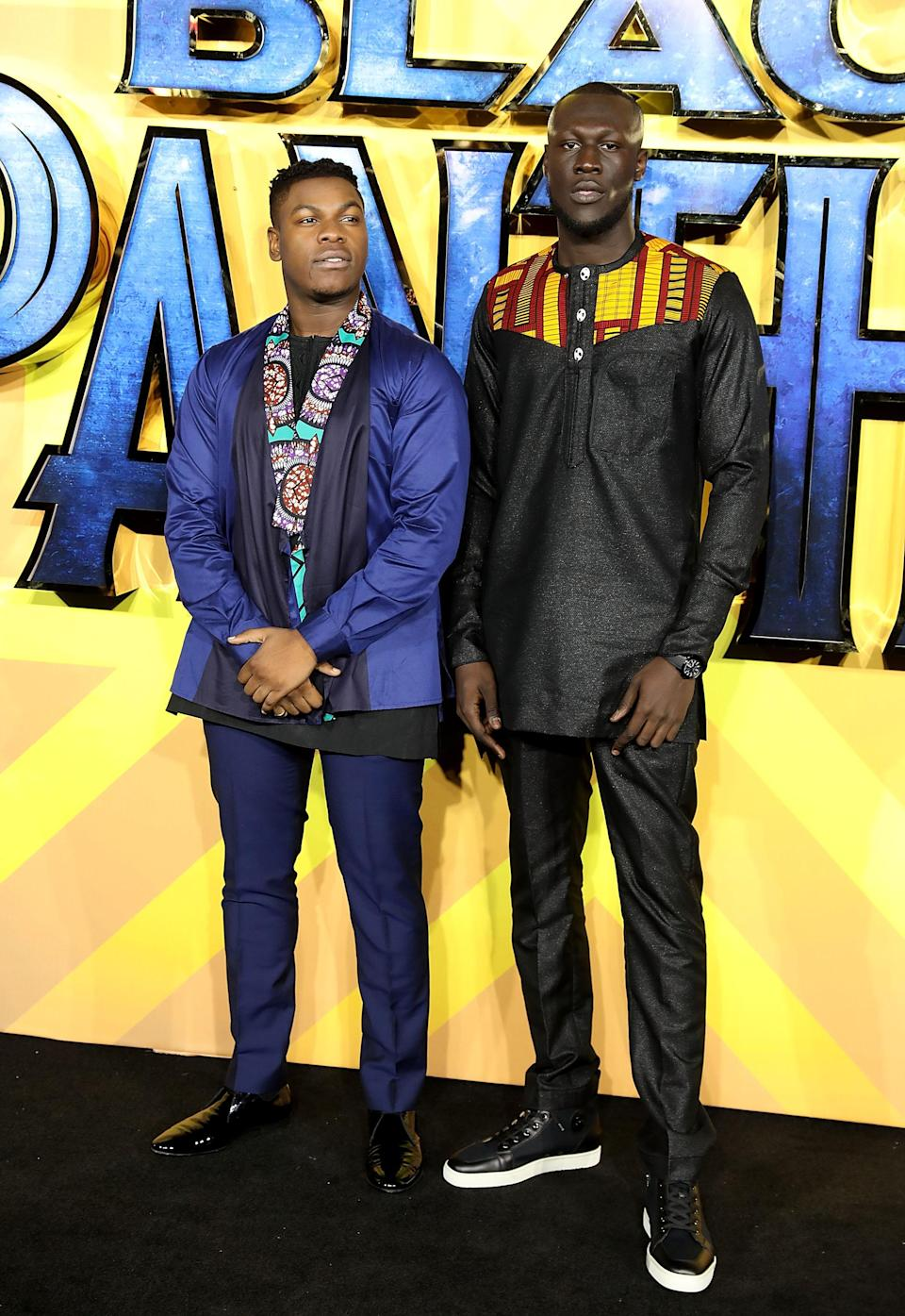 <p>The actor and musician posed for photos together in their colourful ensembles. <em>[Photo: Getty] </em> </p>