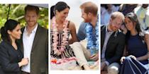 """<p>Prince Harry and Meghan Markle have finally finished their <a href=""""https://www.cosmopolitan.com/uk/reports/a23608388/meghan-markle-prince-harry-split-royal-tour-australia/"""" rel=""""nofollow noopener"""" target=""""_blank"""" data-ylk=""""slk:first royal tour together"""" class=""""link rapid-noclick-resp"""">first royal tour together</a> which lasted for 16 days and saw them visit four countries: Australia, Fiji, Tonga and New Zealand.</p><p>The tour caught the attention of pretty much everyone when on day one of arriving in Sydney, Kensington Palace announced the <a href=""""https://www.cosmopolitan.com/uk/reports/a23769909/meghan-markle-pregnant-prince-harry-official-announcement/"""" rel=""""nofollow noopener"""" target=""""_blank"""" data-ylk=""""slk:Duchess of Sussex is expecting the couple's first child"""" class=""""link rapid-noclick-resp"""">Duchess of Sussex is expecting the couple's first child</a> in the Spring. Since then, there's been baby talk, a <a href=""""https://www.cosmopolitan.com/uk/fashion/celebrity/g23821205/meghan-markle-royal-tour-outfits/"""" rel=""""nofollow noopener"""" target=""""_blank"""" data-ylk=""""slk:whole load of beautiful outfits,"""" class=""""link rapid-noclick-resp"""">whole load of beautiful outfits,</a> inspiring feminist speeches, barefoot anti-bad vibes circles and <a href=""""https://www.cosmopolitan.com/uk/reports/a24468249/meghan-markle-royal-tour-surprise-familiar-face/"""" rel=""""nofollow noopener"""" target=""""_blank"""" data-ylk=""""slk:plenty of adorable moments"""" class=""""link rapid-noclick-resp"""">plenty of adorable moments</a>.</p><p>Here are some of those moments you might have missed: </p>"""