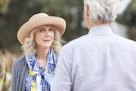 """<p>Carol Peterson (Blythe Danner) is on a journey of self-discovery. After being a widow most of her life, she's ready to cast her rod back out to sea - and she doesn't catch just one fish, but two. Their names are Bill (Sam Elliott) and Lloyd (Martin Starr), and in the name of romance, Carol begins separate relationships with them both. There's plenty of comedy, drama, and charm in this uplifting love story about finding love again later on in life.</p> <p><a href=""""http://www.amazon.com/Ill-See-You-My-Dreams/dp/B0142KHDI0"""" class=""""link rapid-noclick-resp"""" rel=""""nofollow noopener"""" target=""""_blank"""" data-ylk=""""slk:Watch I'll See You in My Dreams on Amazon Prime."""">Watch <strong>I'll See You in My Dreams</strong> on Amazon Prime.</a></p>"""