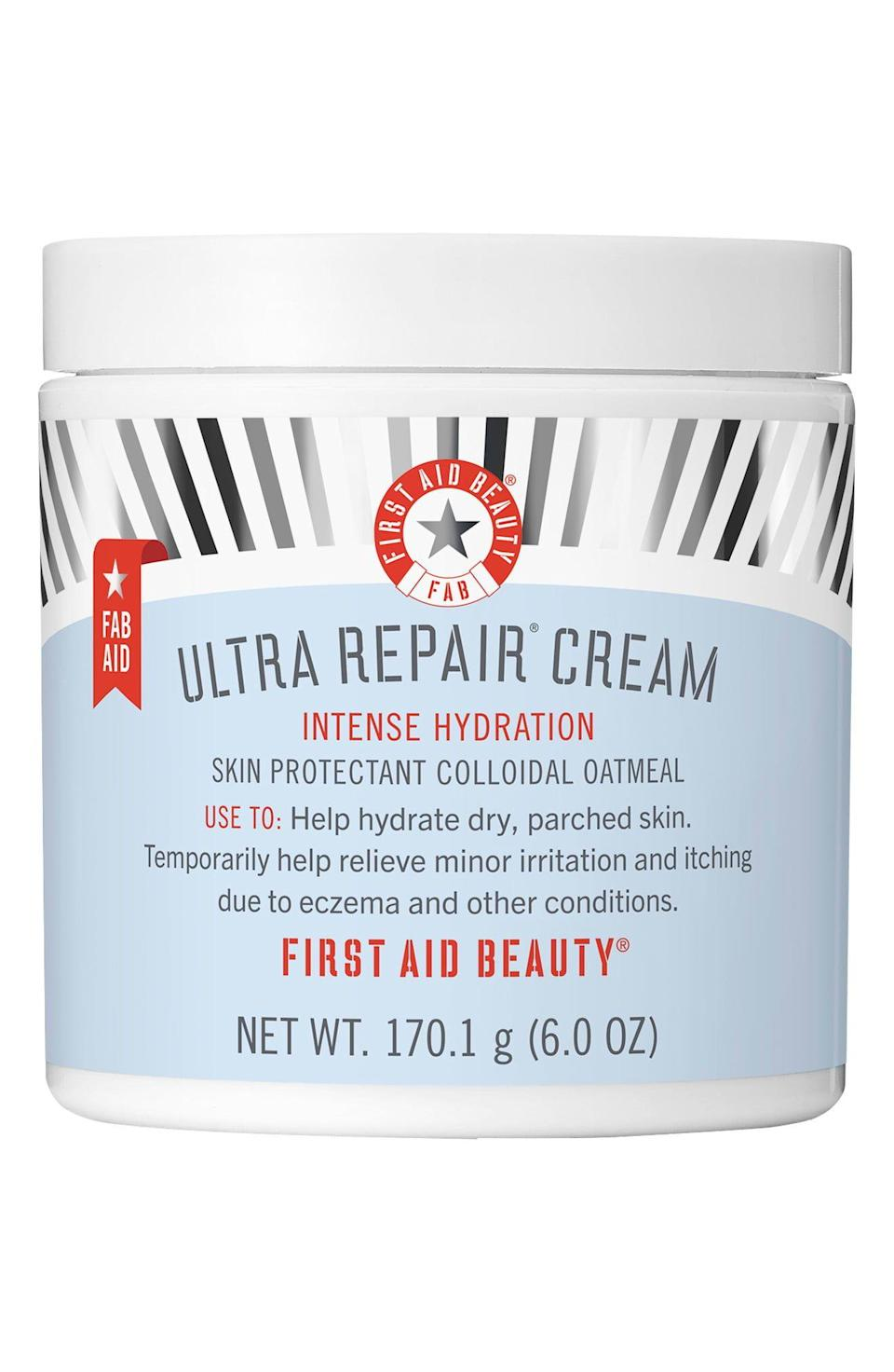"""<p><strong>FIRST AID BEAUTY</strong></p><p>nordstrom.com</p><p><a href=""""https://go.redirectingat.com?id=74968X1596630&url=https%3A%2F%2Fwww.nordstrom.com%2Fs%2Ffirst-aid-beauty-ultra-repair-cream-intense-hydration-face-body-moisturizer%2F5443759&sref=https%3A%2F%2Fwww.elle.com%2Fbeauty%2Fg35951728%2Fnordstrom-beauty-sale%2F"""" rel=""""nofollow noopener"""" target=""""_blank"""" data-ylk=""""slk:Shop Now"""" class=""""link rapid-noclick-resp"""">Shop Now</a></p><p><strong><del>$16 </del>$13.60 (15% off)</strong></p>"""