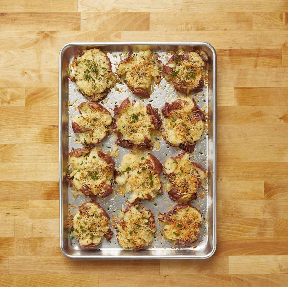 "<p>Hosting a small Thanksgiving gathering that doesn't require a large serving of mashed potatoes? Try these smashed ones instead!</p><p><strong><a href=""https://www.thepioneerwoman.com/food-cooking/recipes/a10944/crash-hot-potatoes/"" rel=""nofollow noopener"" target=""_blank"" data-ylk=""slk:Get the recipe."" class=""link rapid-noclick-resp"">Get the recipe.</a></strong></p><p><strong><a class=""link rapid-noclick-resp"" href=""https://go.redirectingat.com?id=74968X1596630&url=https%3A%2F%2Fwww.walmart.com%2Fbrowse%2Fhome%2Ftools-gadgets%2Fthe-pioneer-woman%2F4044_623679_133020%2FYnJhbmQ6VGhlIFBpb25lZXIgV29tYW4ie&sref=https%3A%2F%2Fwww.thepioneerwoman.com%2Ffood-cooking%2Fmeals-menus%2Fg33251890%2Fbest-thanksgiving-sides%2F"" rel=""nofollow noopener"" target=""_blank"" data-ylk=""slk:SHOP KITCHEN TOOLS"">SHOP KITCHEN TOOLS</a><br></strong></p>"