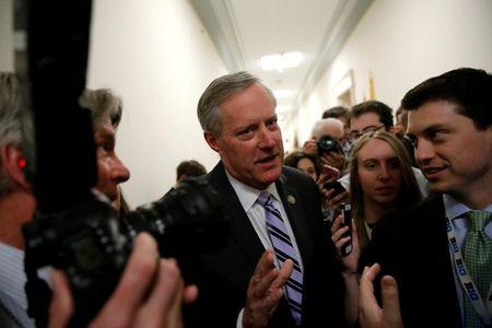 House Freedom Caucus Chairman U.S. Representative Mark Meadows (R-NC) speaks to reporters after meeting with his caucus members about their votes on a potential repeal of Obamacare on Capitol Hill in Washington