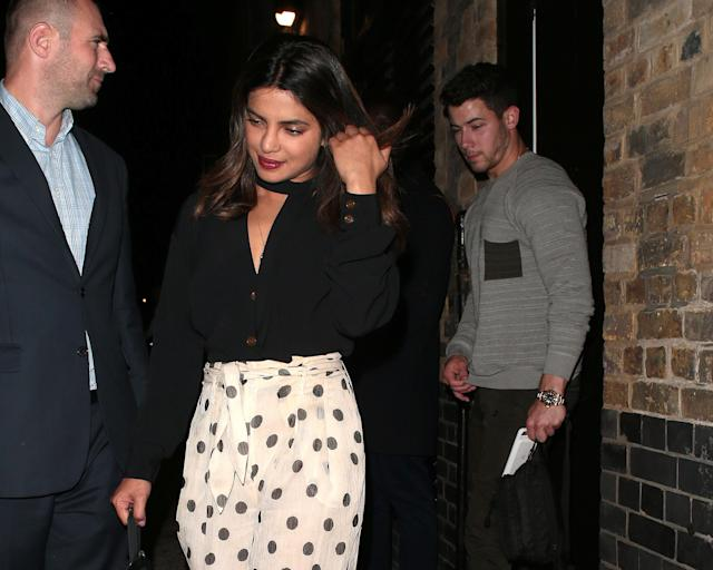 Priyanka Chopra and Nick Jonas on July 17 in London. (Photo: Ricky Vigil/GC Images/Getty Images)