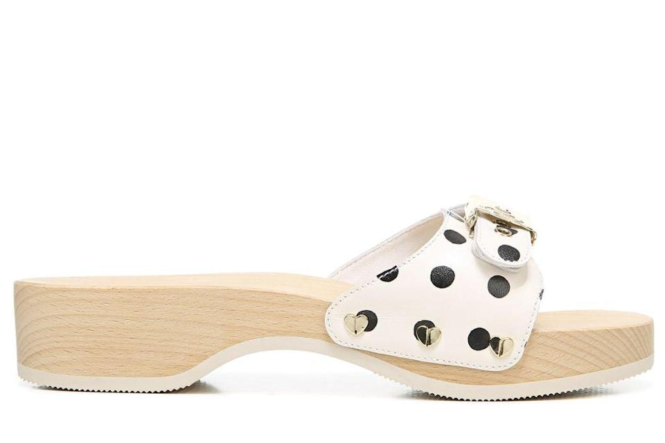 A polka dot leather version of the Dr. Scholl's Original sandal, interpreted by Kate Spade and made with more sustainable materials. - Credit: Courtesy of Kate Spade