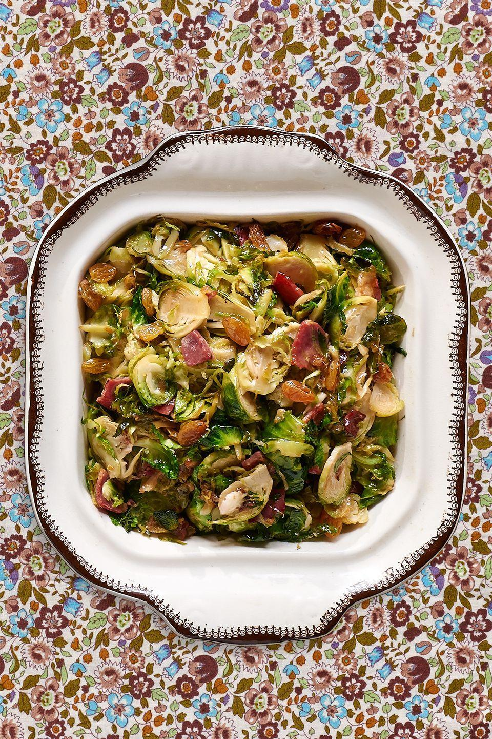 "<p>Earthy Brussels sprouts and robust country ham are the perfect combo in this savory side. </p><p><strong><a href=""https://www.countryliving.com/food-drinks/recipes/a36668/shaved-brussels-sprouts-with-country-ham/"" rel=""nofollow noopener"" target=""_blank"" data-ylk=""slk:Get the recipe"" class=""link rapid-noclick-resp"">Get the recipe</a>.</strong></p>"