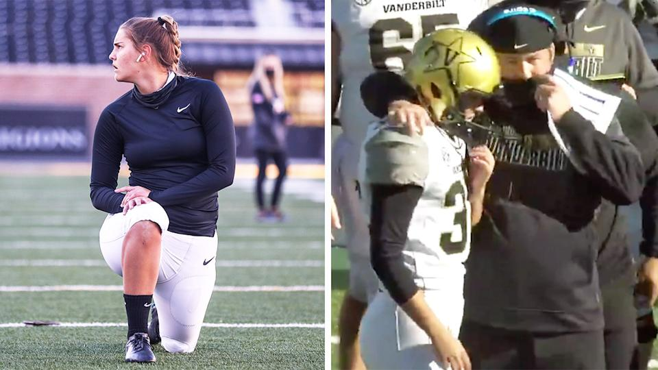 Sarah Fuller (pictured left) warming up and (pictured right) talking to coaching staff before her debut.