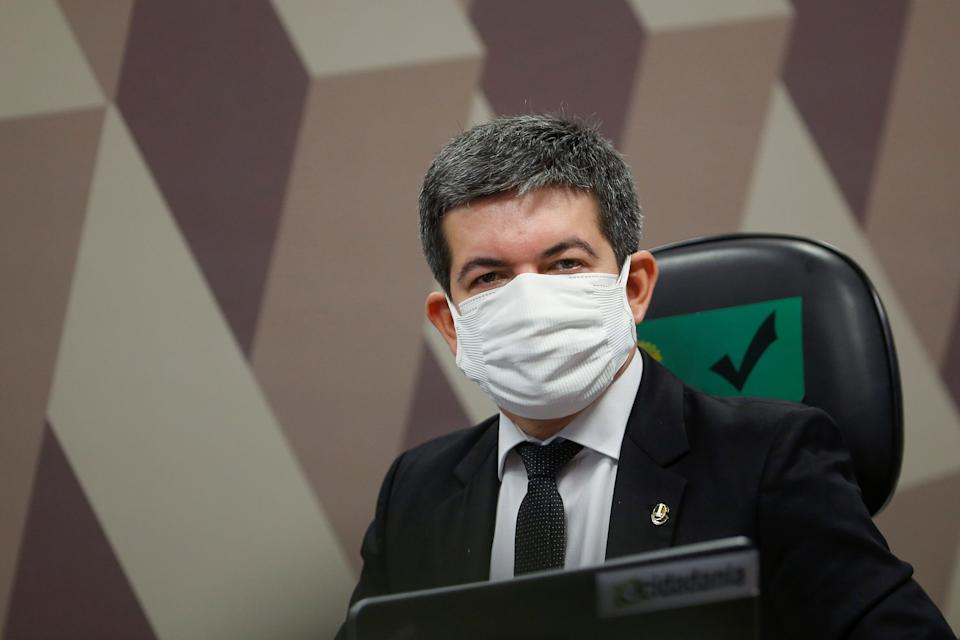 Brazilian Senator Randolfe Rodrigues looks on during a meeting of the Parliamentary Inquiry Committee (CPI) to investigate government actions and management during the coronavirus disease (COVID-19) pandemic, at the Federal Senate in Brasilia, Brazil May 5, 2021. REUTERS/Adriano Machado