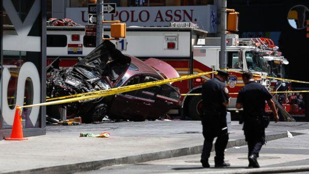 PHOTO: A smashed car sits on the corner of Broadway and 45th Street in New York's Times Square after ploughing through a crowd of pedestrians, May 18, 2017. (Seth Wenig/AP Photo)