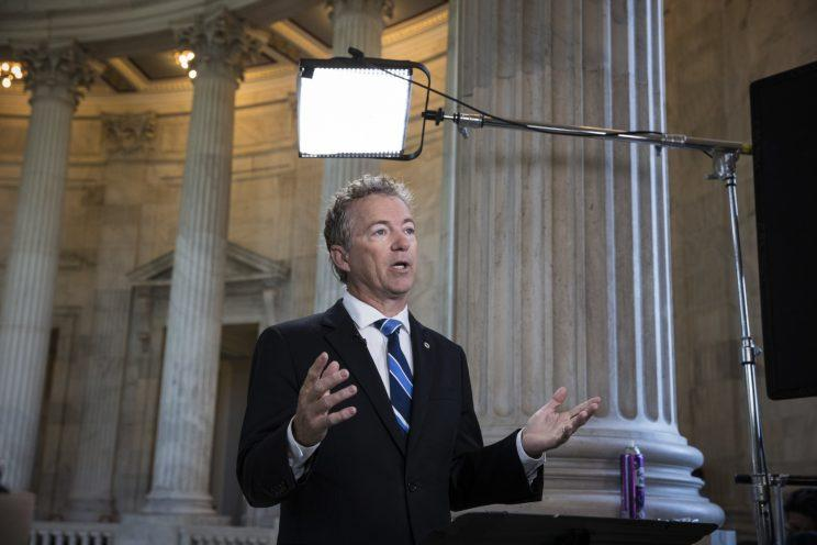 Sen. Rand Paul, R-Ky., a key opponent of the Republican health care bill, does a television news interview on the morning after Senate Majority Leader Mitch McConnell, R-Ky., was forced to delay a vote due to rebellion in his own party, on Capitol Hill in Washington, Wednesday, June 28, 2017. (AP Photo: J. Scott Applewhite/AP)