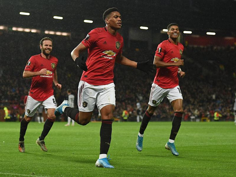 Anthony Martial celebrates scoring Manchester United's second goal: Getty