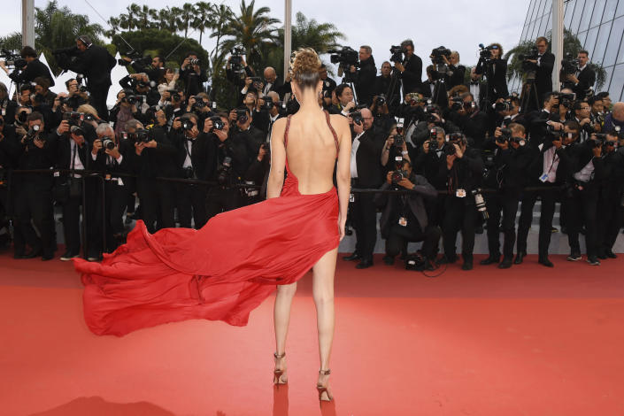 """Model Bella Hadid poses for photographers at the photo call for the film """"The Staggering Girl"""" at the 72nd international film festival, Cannes, southern France on May 17, 2019. (Photo by Arthur Mola/Invision/AP)"""