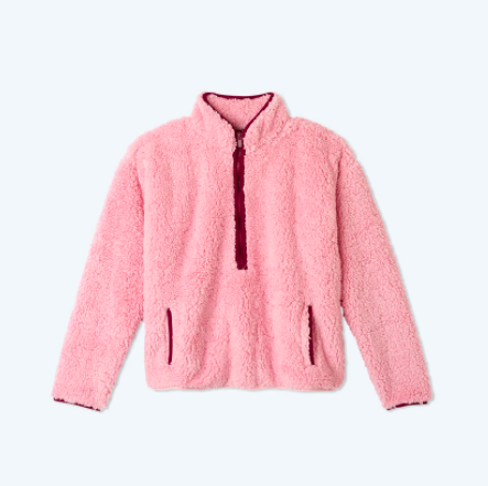 "Updating your current repertoire of basics? Add this rosy turtleneck with contrasting red stitches to cart. It's made of <a href=""https://www.glamour.com/story/sustainable-fashion-brands?mbid=synd_yahoo_rss"" rel=""nofollow noopener"" target=""_blank"" data-ylk=""slk:100% recycled polyester"" class=""link rapid-noclick-resp"">100% recycled polyester</a>, so you can look <em>and</em> feel good about your purchase. $95, Summersalt. <a href=""https://www.summersalt.com/products/the-cozy-high-pile-fleece-half-zip-pink-sky-pinot"" rel=""nofollow noopener"" target=""_blank"" data-ylk=""slk:Get it now!"" class=""link rapid-noclick-resp"">Get it now!</a>"