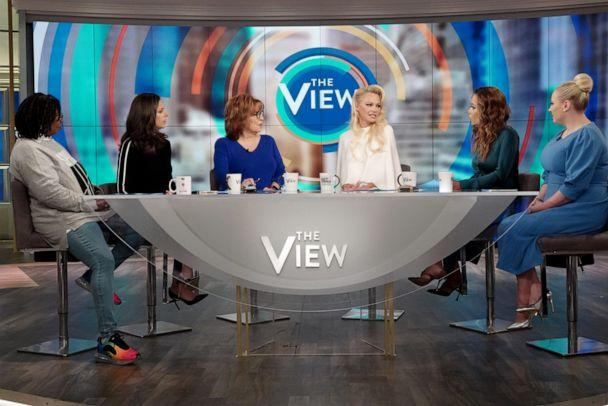 PHOTO: Pamela Anderson speaks out about Julian Assange with 'The View' co-hosts Whoopi Goldberg, Abby Huntsman, Joy Behar, Sunny Hostin, and Meghan McCain, Sept. 6, 2019, in her first TV interview since visiting him in May. (Nicolette Cain/ABC)