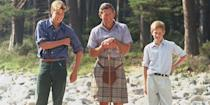 <p>Prince William, Prince Charles, and Prince Harry pose for a photo at their holiday home, Balmoral, in Scotland.</p>