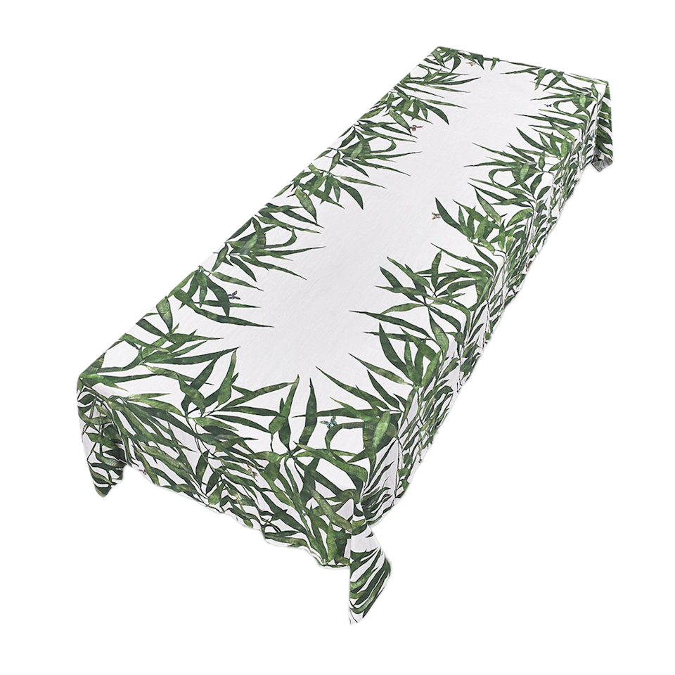 "<p>foundbymaja.com</p><p><strong>$360.00</strong></p><p><a href=""https://www.foundbymaja.com/collections/table-top/products/les-palmiers-leaf-linen-tablecloth-in-green"" rel=""nofollow noopener"" target=""_blank"" data-ylk=""slk:Shop Now"" class=""link rapid-noclick-resp"">Shop Now</a></p><p>A leafy tablecloth decorated with Easter goodies is a fun and creative way to get the look of the Easter tree without all the extra work.</p>"