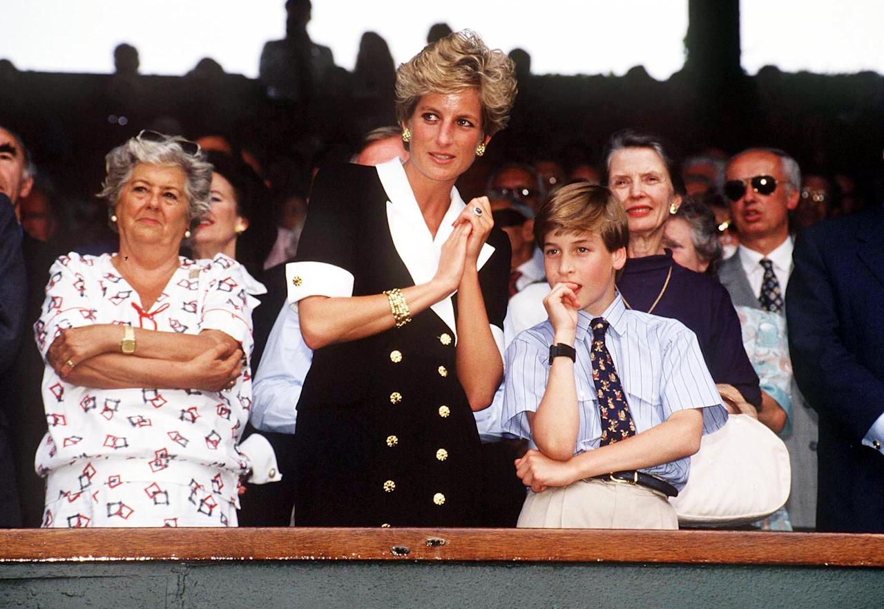 <p>Princess Diana donned a chic blazer dress for the Wimbledon Women's Final in 1994. Prince William joined her at the event. [Photo: Rex] </p>
