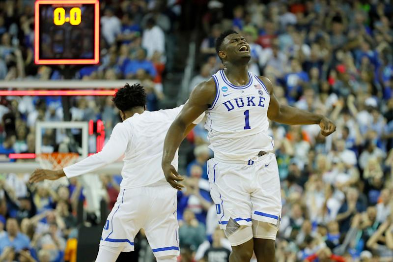 COLUMBIA, SOUTH CAROLINA - MARCH 24: Zion Williamson #1 of the Duke Blue Devils celebrates after defeating the UCF Knights in the second round game of the 2019 NCAA Men's Basketball Tournament at Colonial Life Arena on March 24, 2019 in Columbia, South Carolina. (Photo by Kevin C. Cox/Getty Images)