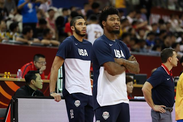 Team USA missed Jayson Tatum and Marcus Smart for much of the tournament. (Photo by Yifan Ding/Getty Images)