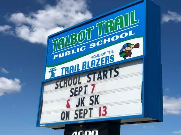 Talbot Trail Public School is one of the many schools within the GECDSB requiring COVID-19 self-assessments for students, staff, parents and visitors before entering the building. (Dale Molner/CBC - image credit)