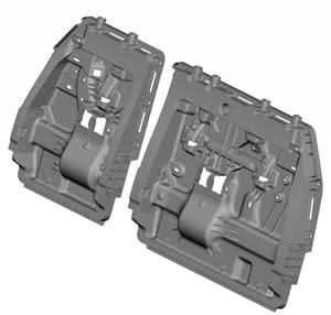 CAD rendering of the 2021 Toyota Sienna resin third row seatback panels developed by Toyota Motor North America Research & Development with supplier partner BASF and manufactured by Flex-N-Gate. The design and materials met lightweighting and improved customer performance targets while still achieving a lower cost.