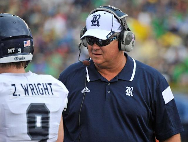 Rice coach David Bailiff talks to players during an NCAA college football game against Notre Dame in South Bend, Ind., Saturday, Aug. 30, 2014. (AP Photo/Joe Raymond)