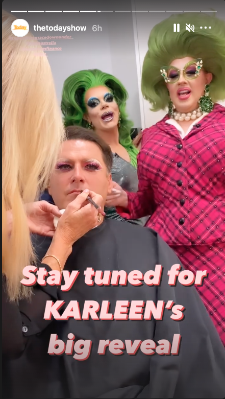 Karl Stefanovic getting his drag queen makeup done
