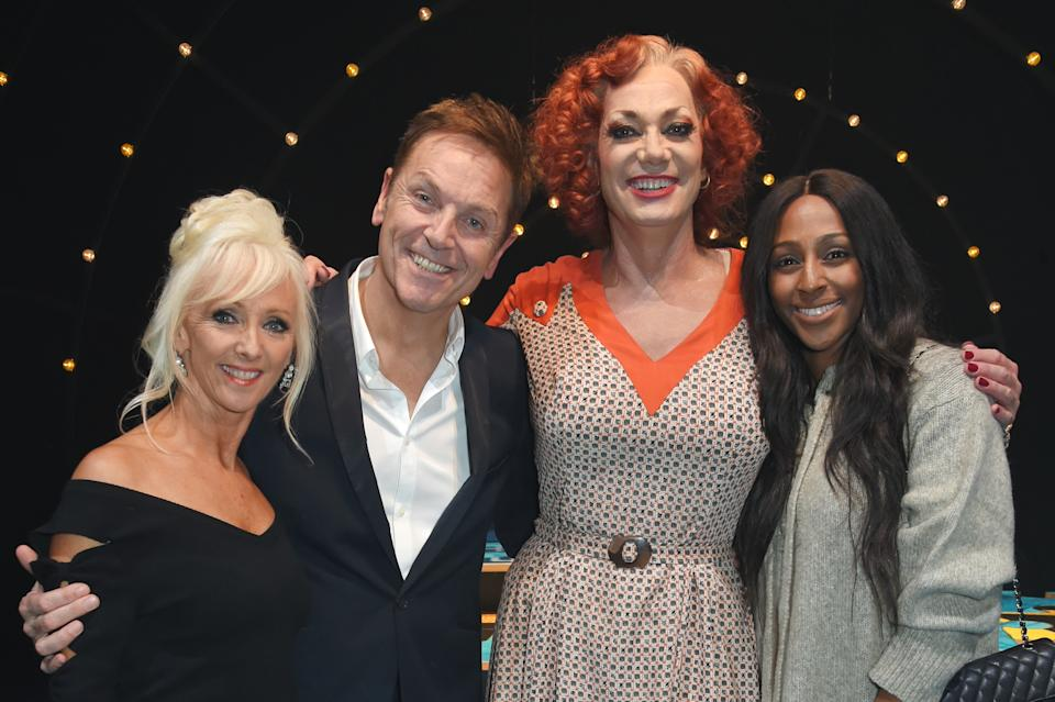 LONDON, ENGLAND - OCTOBER 02:  (L to R) Debbie McGee, Brian Conley, cast member Craig Revel Horwood and Alexandra Burke pose backstage following the cast change press night performance of