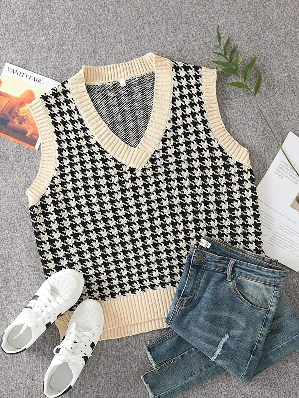 """This is the choice grandma/grandpa knit of 2021. Throw it on over a crisp button-down, and you're in business, baby.<br /><br /><strong>Promising review</strong>: """"<strong>LOVE!!! Great quality and adds so much personality to any outfit!</strong>I think the medium gave me the perfect oversized look, but I think the small would've worked as well because the sweater is naturally oversized.<strong>I bought another!</strong>"""" —<a href=""""https://www.amazon.com/gp/customer-reviews/R1Q5BUYC80EXBQ?&linkCode=ll2&tag=huffpost-bfsyndication-20&linkId=25e51a404102ca3d683d5d626869a2b5&language=en_US&ref_=as_li_ss_tl"""" target=""""_blank"""" rel=""""nofollow noopener noreferrer"""" data-skimlinks-tracking=""""5876227"""" data-vars-affiliate=""""Amazon"""" data-vars-href=""""https://www.amazon.com/gp/customer-reviews/R1Q5BUYC80EXBQ?tag=bfchelsea-20&ascsubtag=5876227%2C7%2C35%2Cmobile_web%2C0%2C0%2C16401296"""" data-vars-keywords=""""cleaning,fast fashion"""" data-vars-link-id=""""16401296"""" data-vars-price="""""""" data-vars-product-id=""""20980979"""" data-vars-product-img="""""""" data-vars-product-title="""""""" data-vars-retailers=""""Amazon"""">Amazon Customer</a><br /><br /><a href=""""https://www.amazon.com/Sdencin-Houndstooth-Sleeveless-Waistcoat-Pullover/dp/B08YVPTFC9?&linkCode=ll1&tag=huffpost-bfsyndication-20&linkId=88b9e5fcd5afc147479add5c31853f3f&language=en_US&ref_=as_li_ss_tl"""" target=""""_blank"""" rel=""""noopener noreferrer""""><strong>Get it from Amazon for$16.49(available in sizes S-L and in nine colors).</strong></a>"""