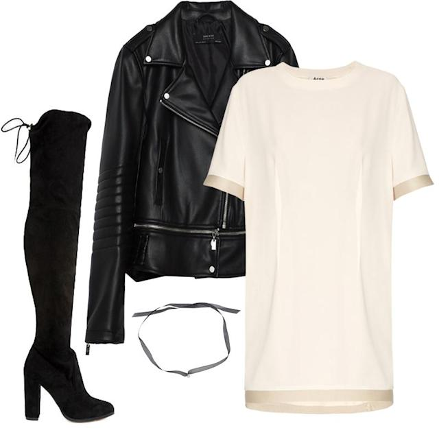 """<a href=""""https://ec.yimg.com/ec?url=http%3a%2f%2fwww.zara.com%2fus%2fen%2fwoman%2fouterwear%2fjackets%2ffaux-leather-jacket-c675024p3648767.html%26quot%3b&t=1527220729&sig=XUg80mFgSumgSLDnU06egQ--~D rel=""""nofollow noopener"""" target=""""_blank"""" data-ylk=""""slk:Faux Leather Jacket, Zara, $70""""My go-to night-out combination is a leather jacket, t-shirt dress, heeled thigh-high boots and a choker. This is a way for me to be comfortable, but still appropriately dressed for whatever the night may consist of. I can wear it to dinner, a bar and I've even worn it to nightclubs. LA is very accepting of personal style, and this is mine."""" —Andrea Navarro, Associate Beauty Editor"""" class=""""link rapid-noclick-resp"""">Faux Leather Jacket, Zara, $70<p><span>""""My go-to night-out combination is a </span><span>leather jacket, t-shirt dress, heeled thigh-high boots and a choker. This </span><span>is a way for me to be comfortable, but still appropriately dressed for whatever the night may consist of. I can wear it to dinner, a bar and I've even worn it to nightclubs. LA is very accepting of personal style, and this is mine.""""</span></p> <p><em>—Andrea Navarro, Associate Beauty Editor</em></p> </a><a href=""""http://shop-links.co/1585345352375801622"""" rel=""""nofollow noopener"""" target=""""_blank"""" data-ylk=""""slk:Rozalia T-Shirt Dress, Acne Studios, $500""""My go-to night-out combination is a leather jacket, t-shirt dress, heeled thigh-high boots and a choker. This is a way for me to be comfortable, but still appropriately dressed for whatever the night may consist of. I can wear it to dinner, a bar and I've even worn it to nightclubs. LA is very accepting of personal style, and this is mine."""" —Andrea Navarro, Associate Beauty Editor"""" class=""""link rapid-noclick-resp"""">Rozalia T-Shirt Dress, Acne Studios, $500<p><span>""""My go-to night-out combination is a </span><span>leather jacket, t-shirt dress, heeled thigh-high boots and a choker. This </span><span>is a way for me to be comfortable, but still appropriately dressed """