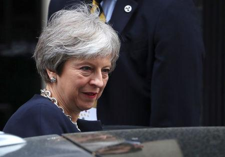 Britain's Prime Minister Theresa May leaves 10 Downing Street after meeting Jamaica's Prime Minister Andrew Holness, in London