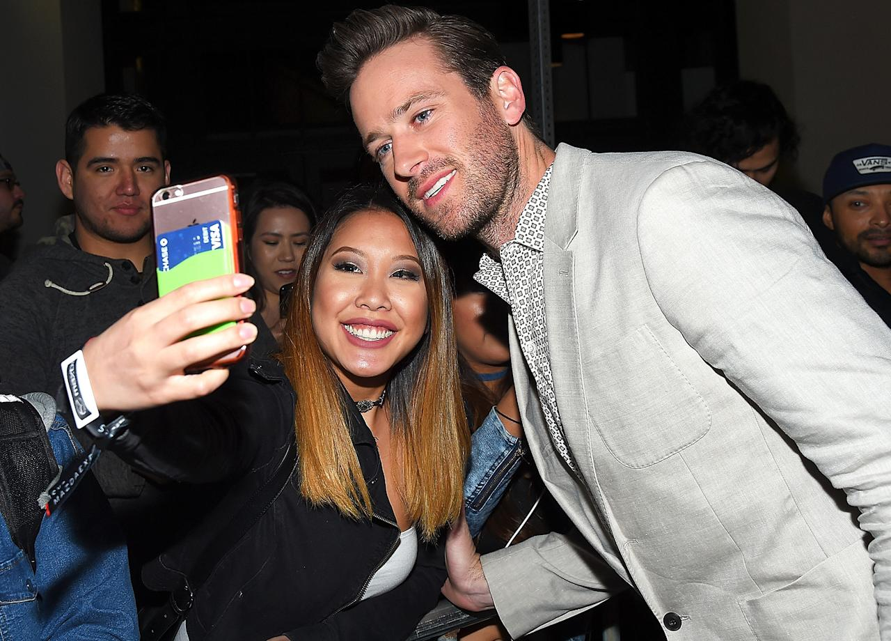 Armie Hammer gets selfie-aware on Monday at the Free Fire premiere at SXSW in Austin, Texas.