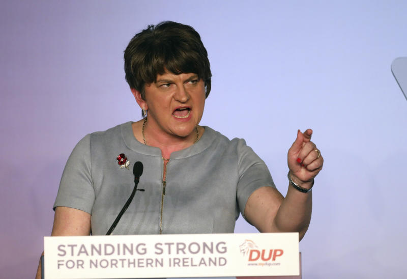 Democratic Unionist Party leader Arlene Foster speaks to delegates at the party's annual conference in Belfast, Northern Ireland, Saturday, Oct. 26, 2019. (AP Photo/Peter Morrison)