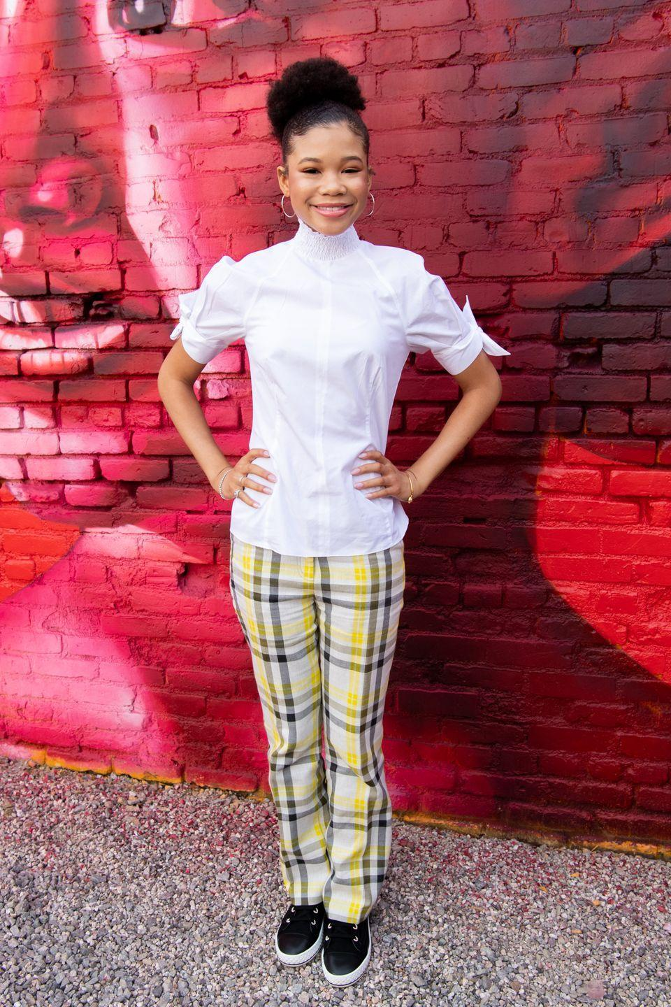<p>While everyone else is out here making their plaid pants look grungy, take a note from Storm Reid and go preppy. A crisp white button up and sneakers makes the bold pants feel dressy, but still chill enough for class. </p>