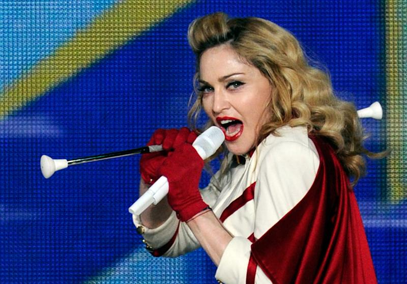 """Madonna performs at the MGM Grand Garden Arena as she tours in support of her album, """"MDNA"""" October 13, 2012 in Las Vegas, Nevada.  (Photo by David Becker/Getty Images)"""