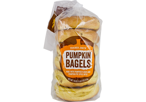 <p>Made with pumpkin flour and pumpkin pie bits, these bagels are legit.</p>