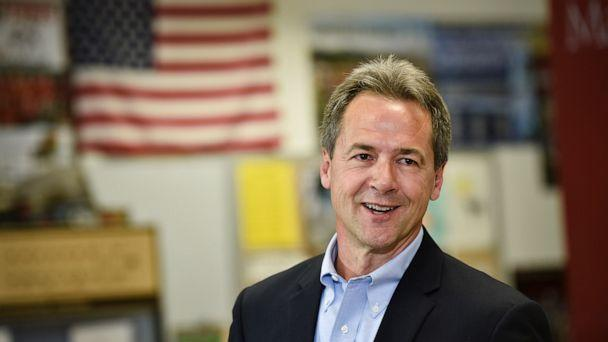 PHOTO: Montana Gov. Steve Bullock, Democratic presidential candidate, officially announces his campaign for president, May 14, 2019, at Helena High School in Helena, Mont. (Thom Bridge/Independent Record via AP)