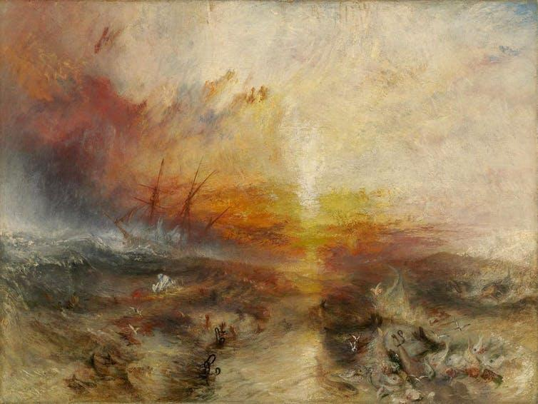 Painting by JMW Turner showing abstract ship at sunset with bodies in water.