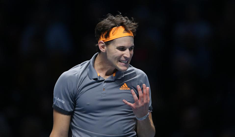 LONDON, ENGLAND - NOVEMBER 10: Dominic Thiem during his Group Bjorn Borg match against Roger Federer during Day 1 of the Nitto ATP World Tour Finals at The O2 Arena on November 10, 2019 in London, England. (Photo by Rob Newell - CameraSport via Getty Images)