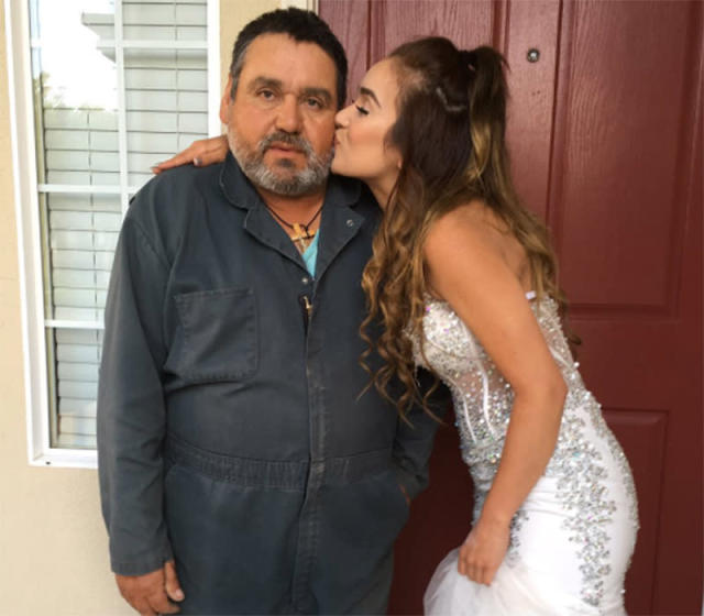 Lourdes Medrano dressed up for prom a second time, so her father could take pictures with her after missing the big event because of work. (Photo: mermaidlulu_/Twitter)