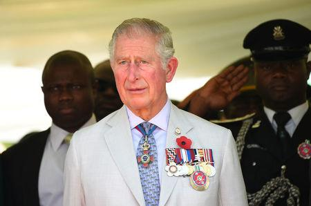 FILE PHOTO: Britain's Charles, Prince of Wales stands during the honouring of the fallen heroes of the two World Wars in Abuja