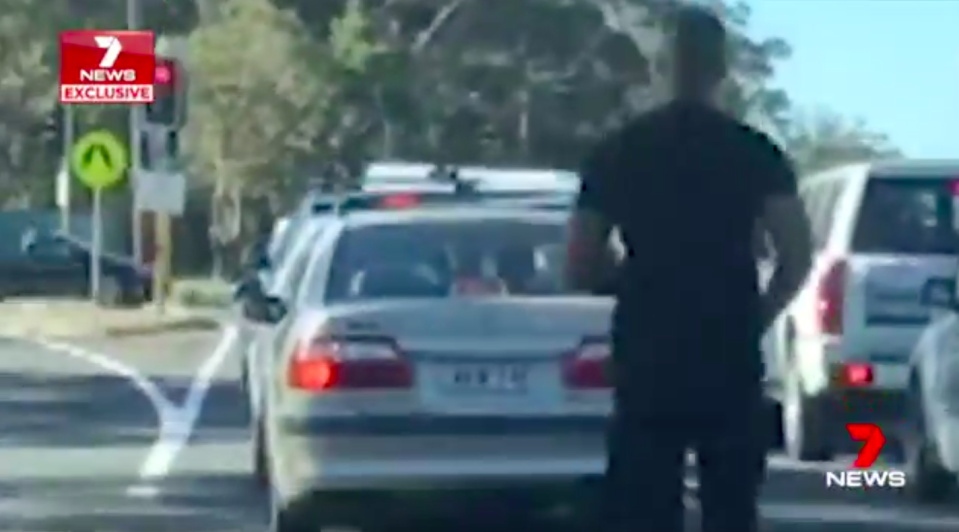 The P-plater approaches the victim after words were exchanged. Source: 7News