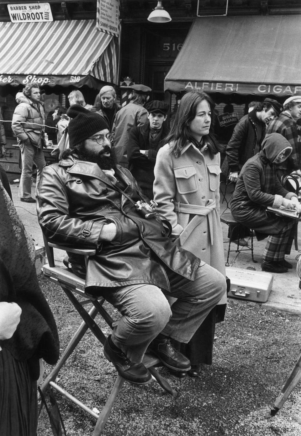 <p>Coppola is seen on set in the East Village while filming the sequel. On his right is his wife, Eleanor Coppola.</p>