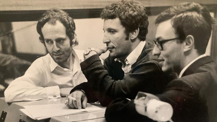 Working with John Barry (L) and Tom Jones