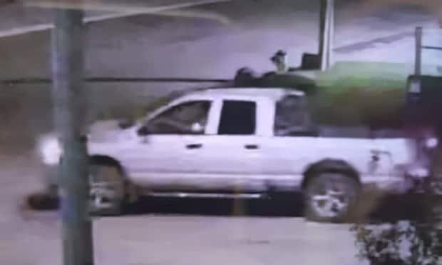 Calgary police are trying to find this truck and its driver in connection with a hit-and-run collision last week that resulted in the death of a 35-year-old man.  (Calgary Police Service - image credit)