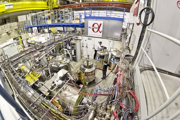 A view of the ALPHA experiment facility at CERN, which is investigating the antimatter version of hydrogen, antihydrogen.