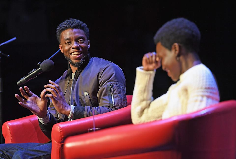 NEW YORK, NY - FEBRUARY 27:  Black Panther stars Chadwick Boseman and Lupita Nyong'o attend a panel discussion about the box office smash Black Panther at The Apollo Theater on February 27, 2018 in New York City.  (Photo by Shahar Azran/WireImage)