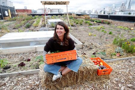 "Sophie Jankowski, President of ""Seed Postman"" association, speaks during a interview on a 900 square meters farm garden on the rooftop of their postal sorting center, as part of a project by Facteur Graine association to transform a city rooftop as a vegetable garden to grow fruits, vegetables, aromatic and medicinal plants, with also chickens and bees in Paris, France, September 22, 2017. Picture taken September 22, 2017.  REUTERS/Charles Platiau"