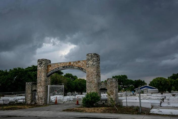 Miami, Florida, May 7 2021 - The entrance to Lincoln Memorial Cemetery, 3001 NW 46th St., Miami, on a stormy evening in May.